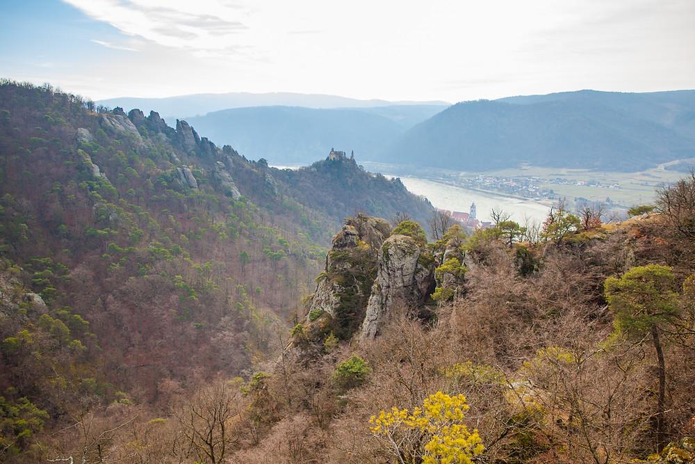 Ausblick, Ruine Dürnstein, Donau, Stift Dürnstein, Wachau, Dürnstein, König Richard Löwenherz, Blondel, Sage, Märchen, Ruine