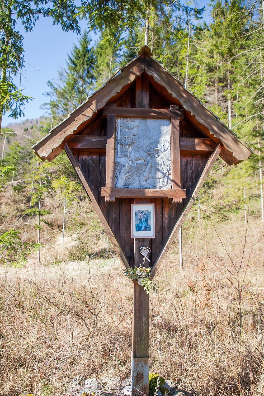 Lehenrotte, Lilienfeld, Voralpen, Niederösterreich, Wandern, Wanderung, einfache Wanderung, Heiliger Hubertus, Marterl, Wegkreuz
