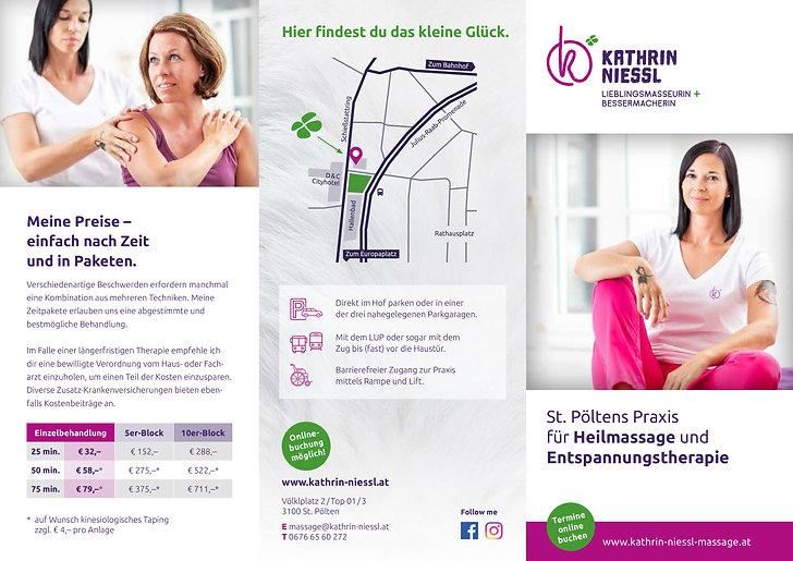 Kathrin Niessl Masseurin und Therapeutin Folder
