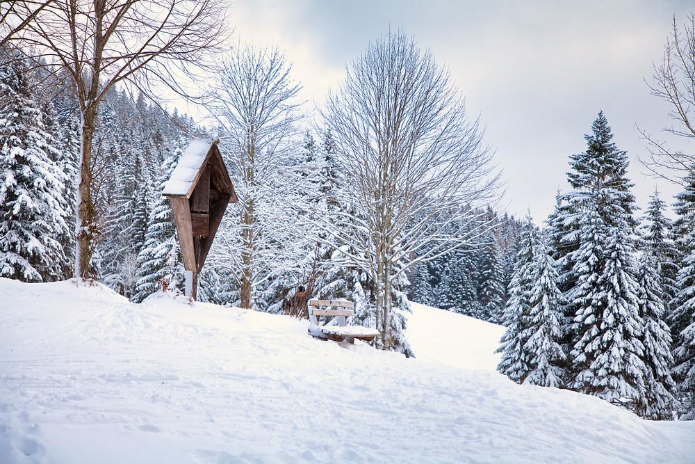 Rastplatz, Marterl, Tirolerkogel, Annaberghaus, Alpen, Wanderung, Wandern, Wanderweg, Winterwandaerung, Winterwandern, Schnee, Winterwald