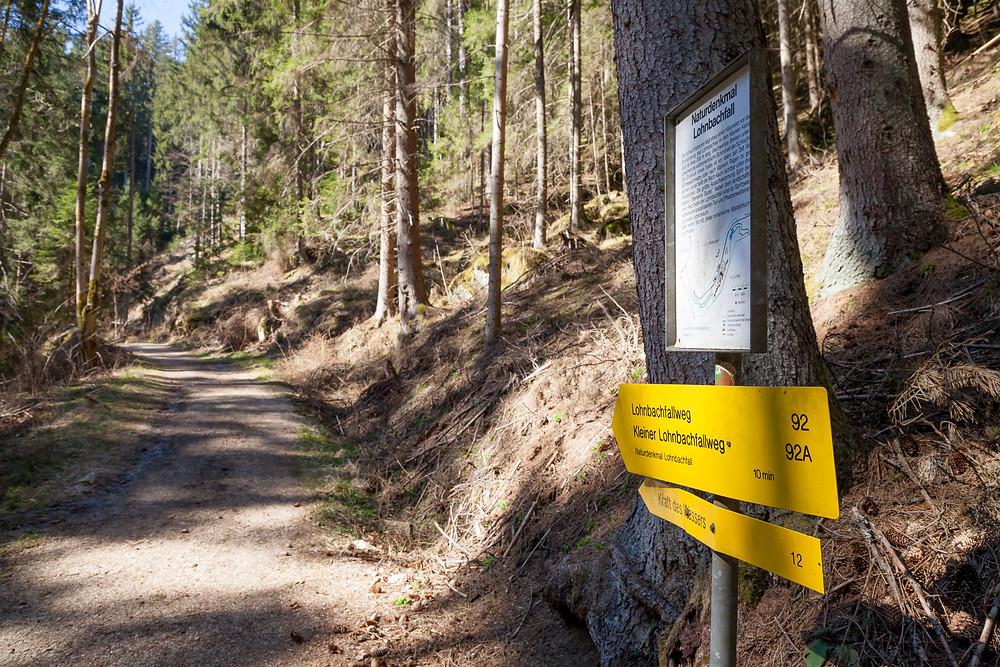 Lohnbachfall, Wanderung, Wandern, Waldviertel, Niederösterreich, Wandermarkierung