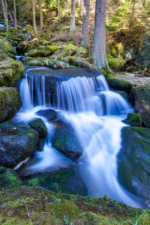 Lohnbachfall, Wasserfall, Wasser, Bach, Bachlauf, Granit, Felsen, Moos, Wandern, Wanderung, Waldviertel, Niederösterreich