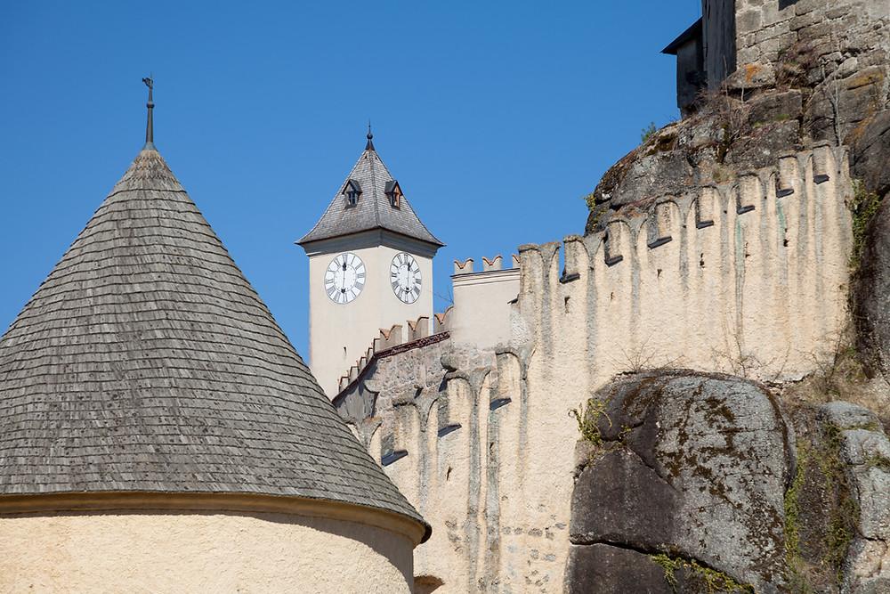 Uhrturm, Burg Rapottenstein, Burg, Ritterburg, Wehrburg, Waldviertel, Niederösterreich, Wandern, Wanderung, Kamp