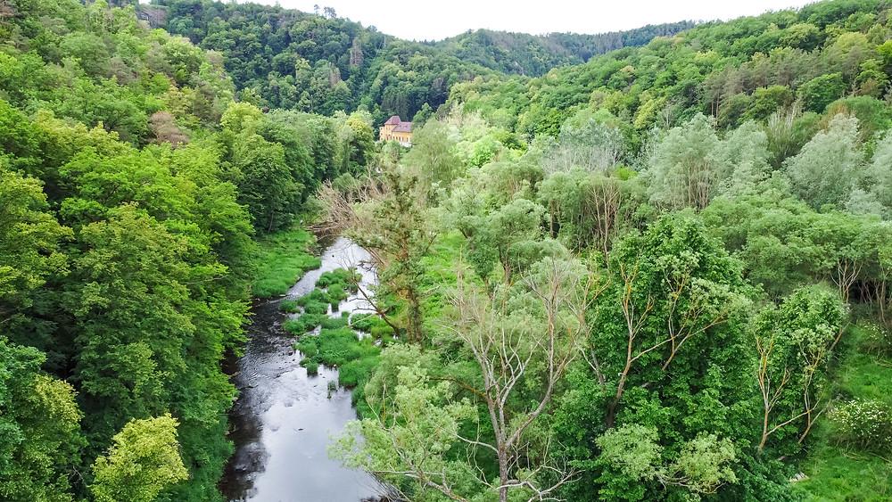 Kamp, Kamptal, Steinegg, Ödes Schloss, Wandern, Wanderung, Ausflug, Waldviertel, Niederösterreich, Drohneuaufnahme, Luftbild