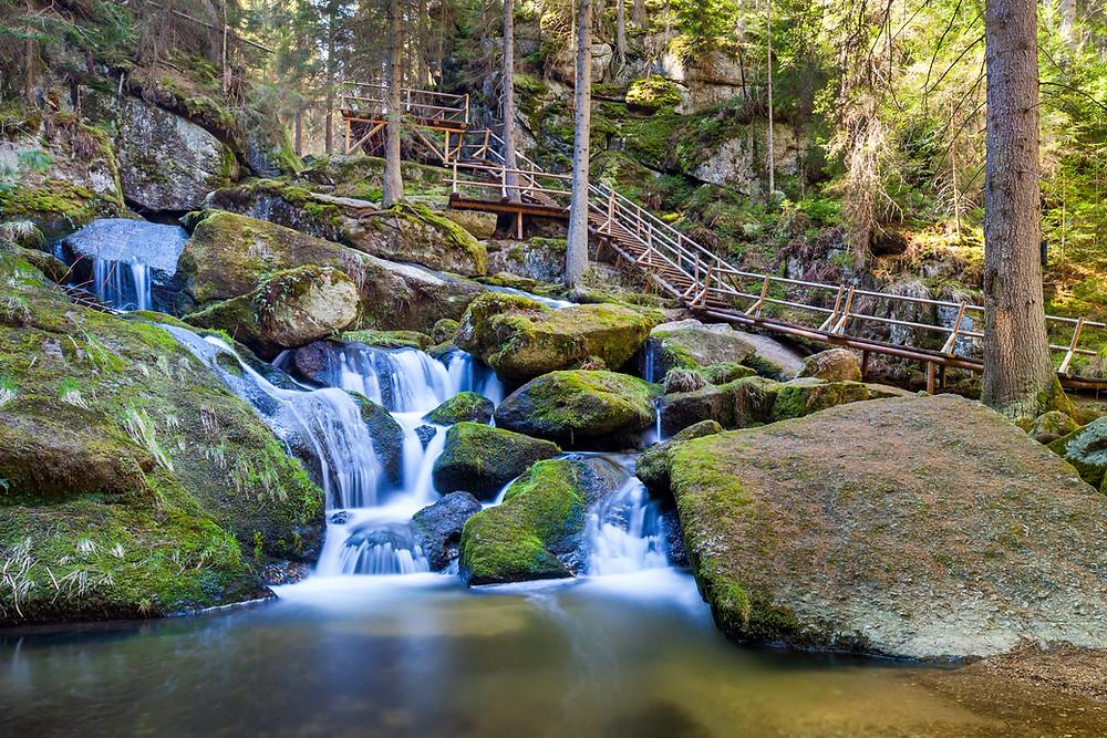 Lohnbachfall, Steig, Klamm, Wasser, Bach, Wildwasser, Felsen, Moos, Granit, Wandern, Wanderung, Waldviertel, Niederösterreich