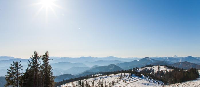 Wandern Alpen: Ramsau auf den Unterberg im Winter in Niederösterreich