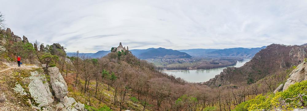 Panorama, Ruine Dürnstein, Wachau, Donau, Vogelbergsteig, Felsformationen, Panoramafotografie, Ausblick, Aussichtspunkt, Wandern, Wanderung, Niederösterreich