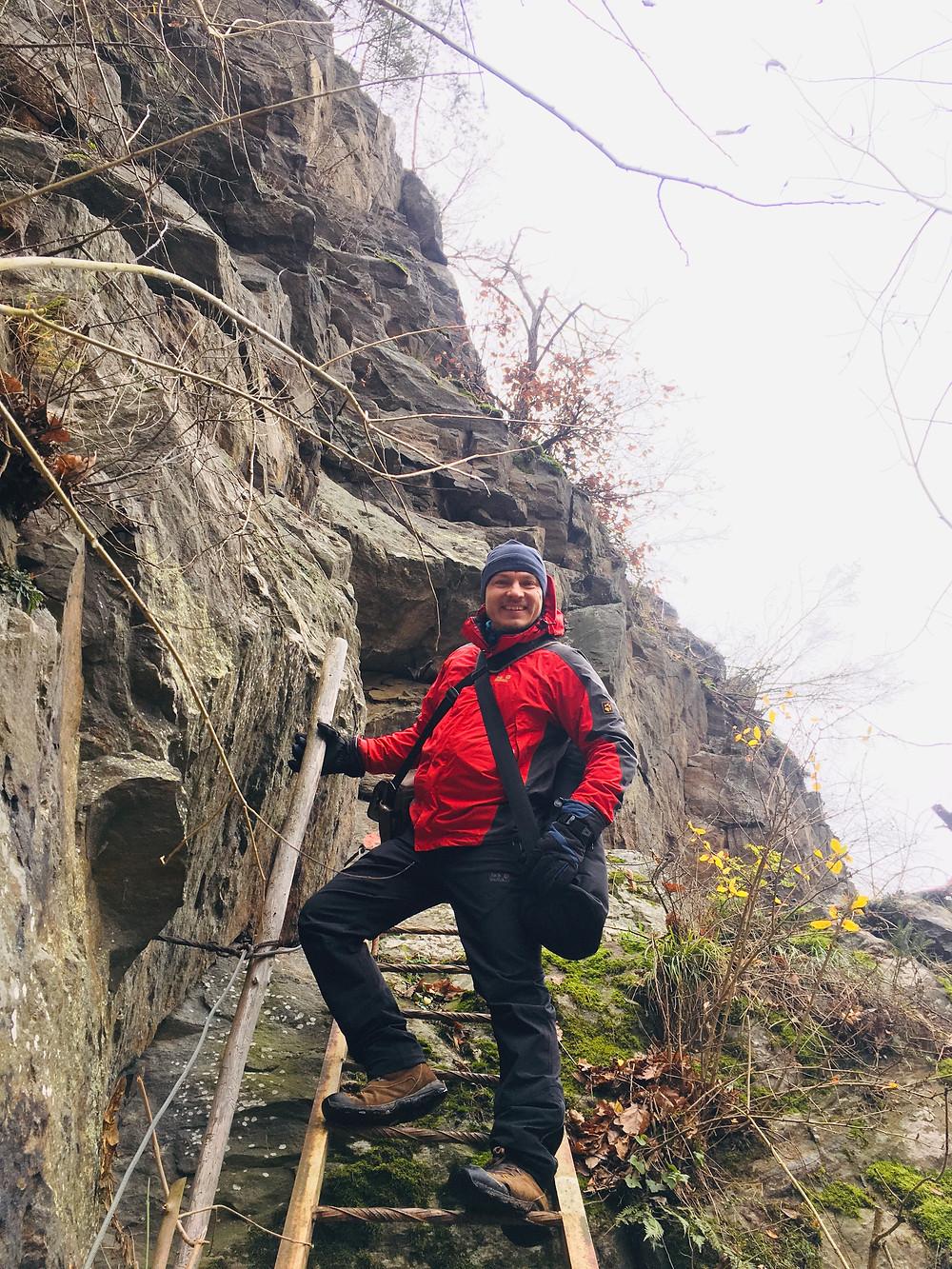 Krumau am Kamp, Waldviertel, Niederösterreich, Wandern, Wanderung, Winterwandern, Steig, Leiter, trittsicher, Trittsicherheit