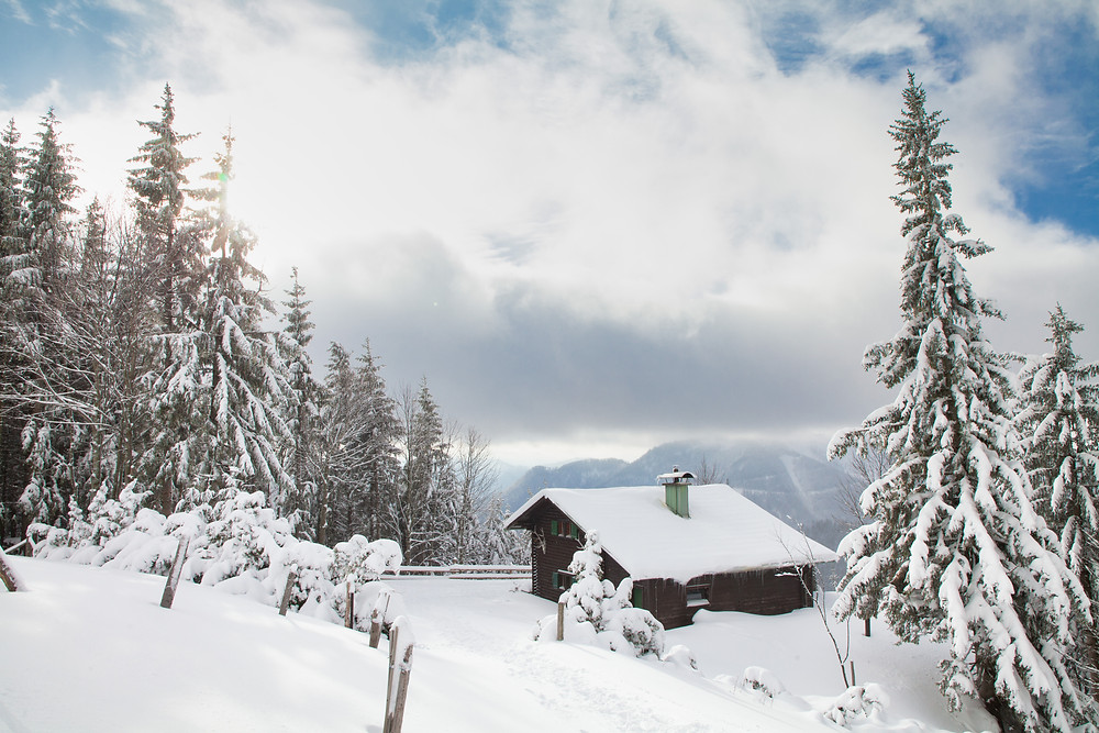 Tirolerkogel, Annaberghaus, Alpen, Wanderung, Wandern, Wanderweg, Winterwandaerung, Winterwandern, Schnee, Winterwald, Berghütte, Idylle, Almhütte