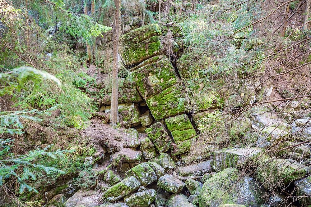 Granit, Lohnbachfall, Steinformation, Waldviertel, Niederösterreich, Wandern, Wanderung