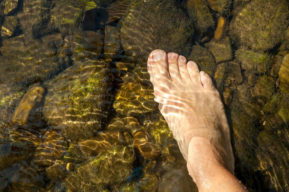 Fuß, Wasser, Furt, Wasserdurchquerung, Bach
