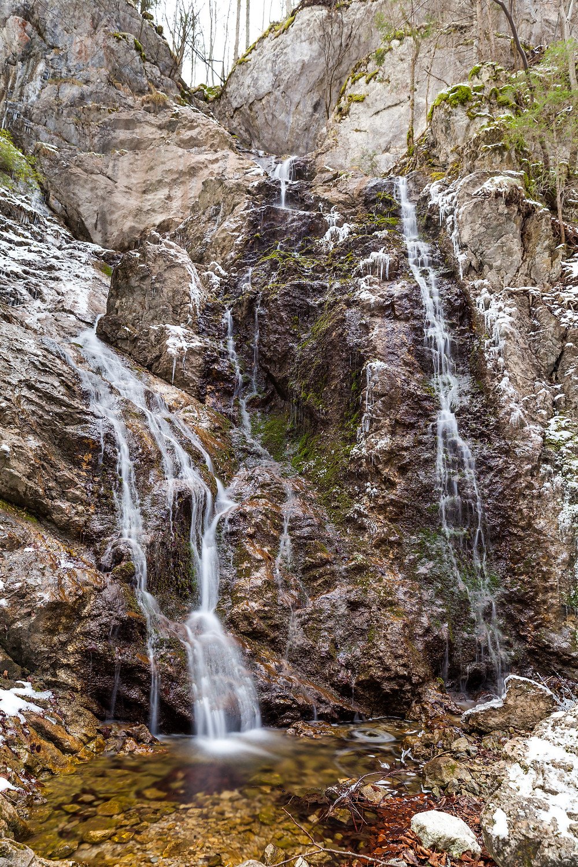 Wasserfall, Wasser, Eiszapfen, Hinteralm, Kleinzeller Hinteralm, Gutensteiner Alpen, Alpenvorland, Schindeltal, Niederösterreich, Wandern, Wanderung, Bergwandern,