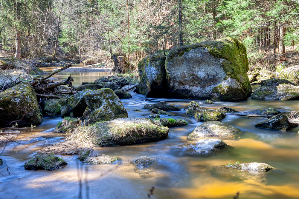 kleiner Kamp, Kamp, Ritterkamp, Waldviertel, Rappottenstein, Niederösterreich, Wandern, Wanderung, Bach, Fluss, Granit, Wald