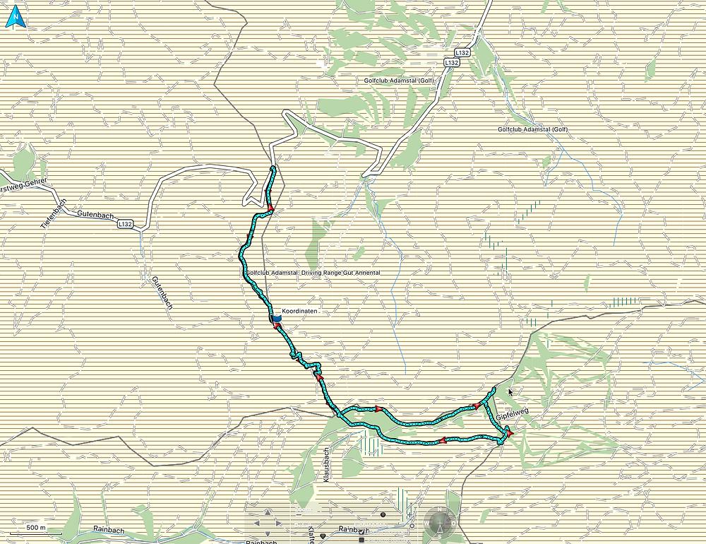Wanderroute auf den Unterberg als Karte