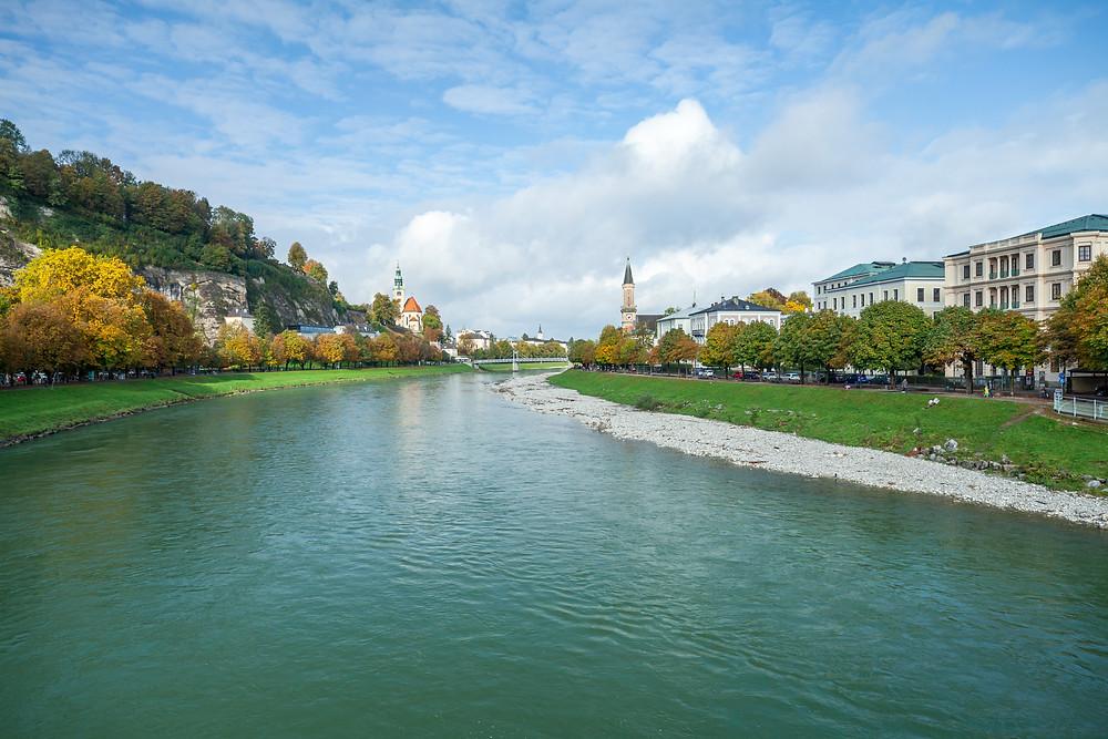 Salzach, Markartsteig, Salzburg, Salzburg Altstadt, Mozartstadt, Kurzurlaub, Stadtwandern, Stadtwanderung, Besichtigung, Sightseeing, Kulturrundgang, Sehenswürdigkeiten, Spaziergang,