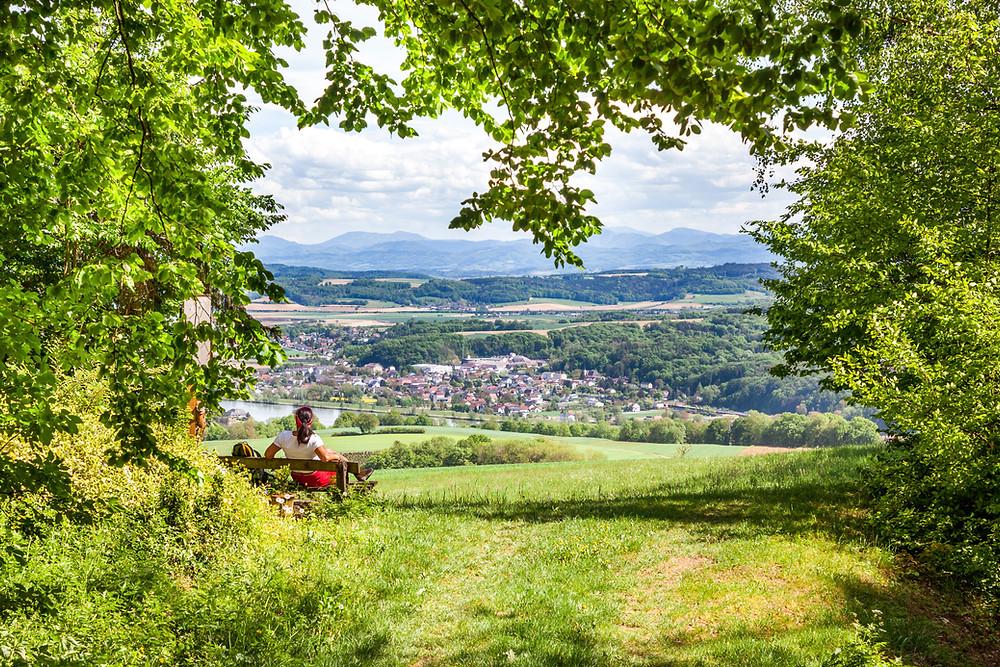 Aussichtspunkt, Bank, Rast, Steinbachklamm, Nibelungengau, Waldviertel, Donau, Niederösterreich, Wandern, Ausflug, Wandertipp