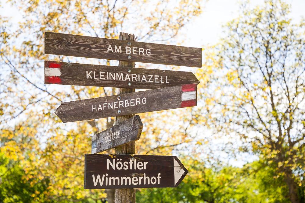 Wegweiser, Wanderwegweiser, Hafnerberg, Klein Mariazell, Via Sacra, Wallfahrt, Wienerwald, Niederösterreich, 3-Kirchen-Wanderung, Wandern, Ausflug, Wandertipp