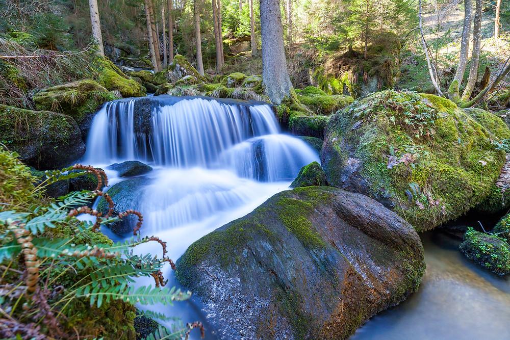 Lohnbachfall, Lohnbach, Waldviertel, Niederösterreich, Wasserfall, Bach, Wasser, wildes Wasser, Granit, Felsen, Moos, Wandern, Wanderung