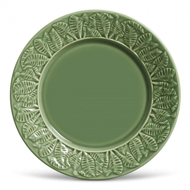 Prato Raso Cerâmica Verde Folhagem