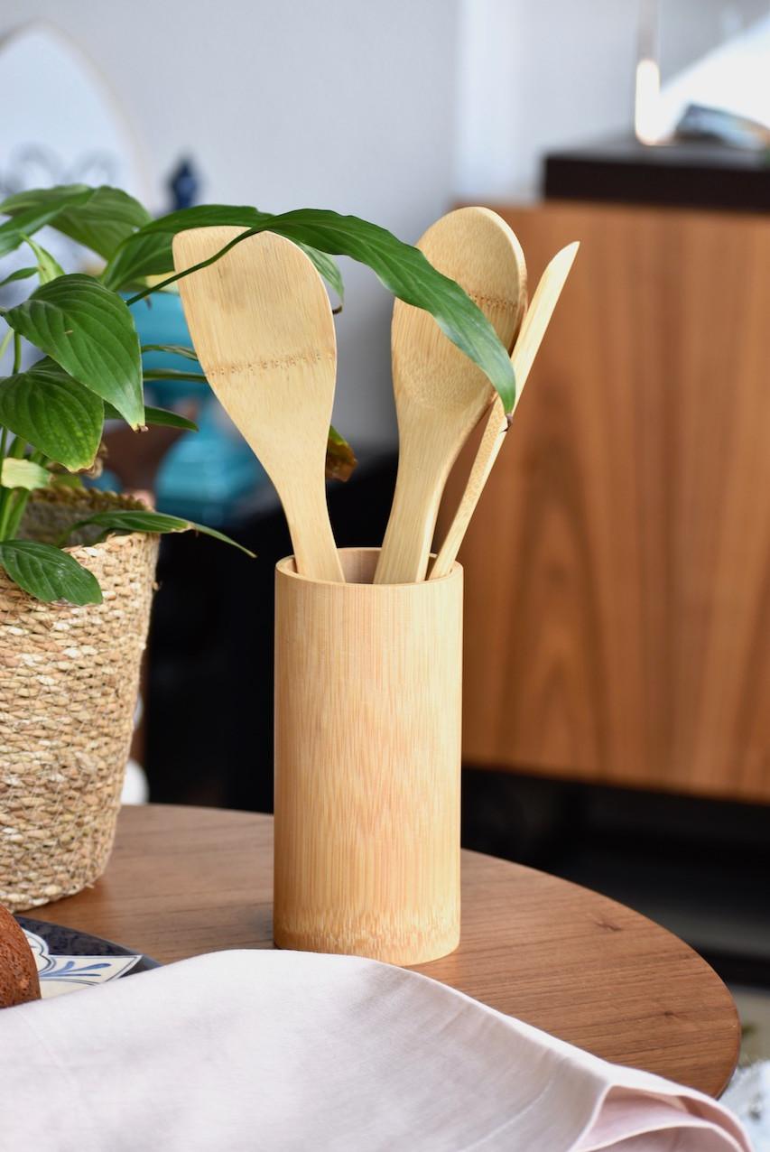 Conjunto de Espátulas de Bambu para Cozinha