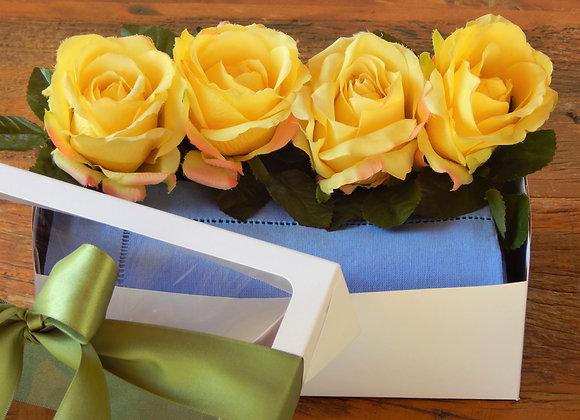 GIFT BOX ROSA AMARELA E LINHO