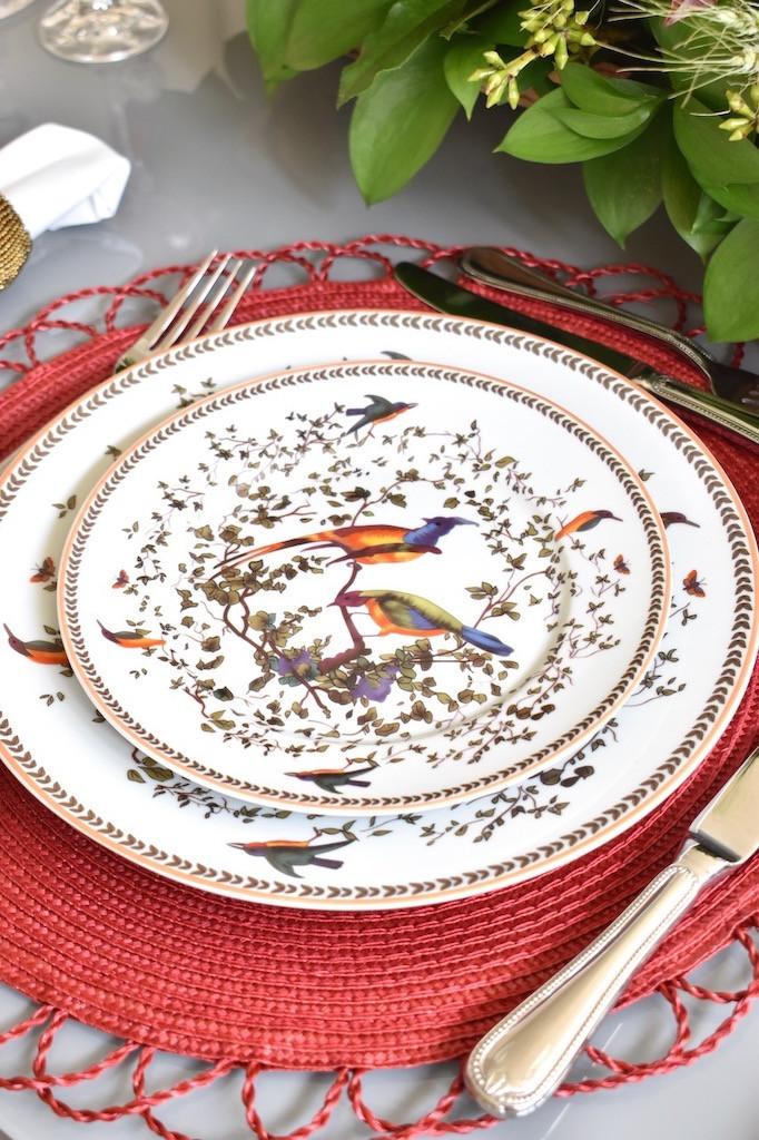 Louça de Porcelana estampada com pássaros, prato raso e prato de sobremesa