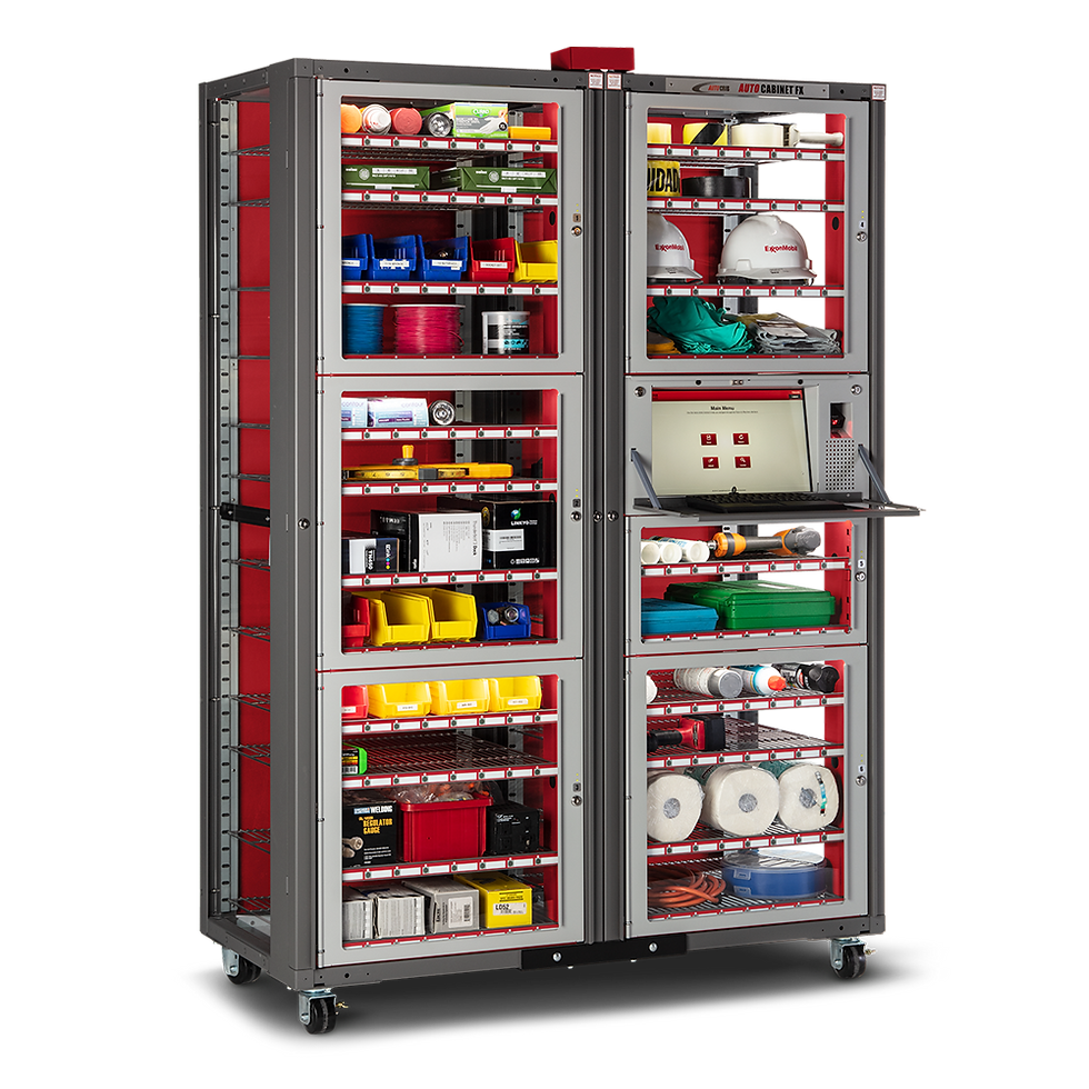 High density inventory management system in a medium security vending machine format.