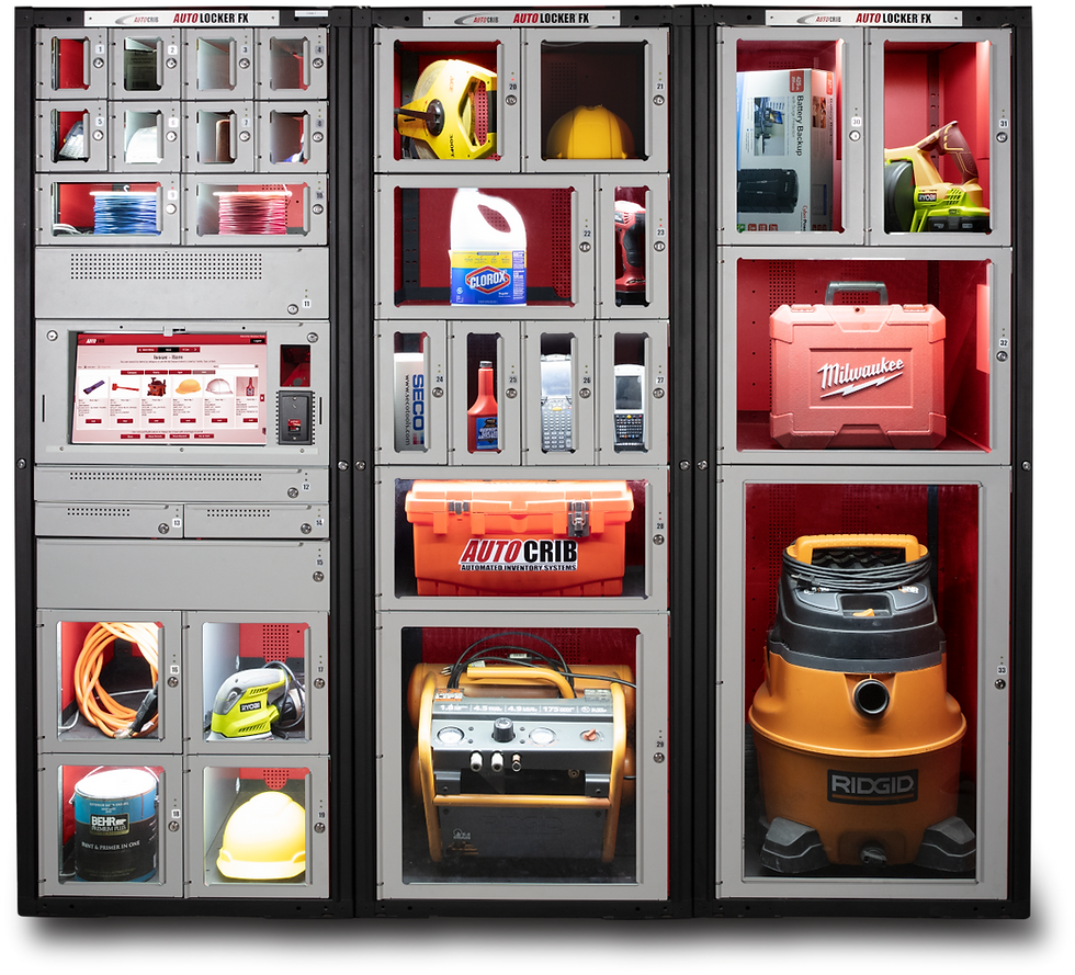 A customizable asset tracking locker system for items such as laptops, iPads, power tools, gauges or any asset that needs to be tracked.