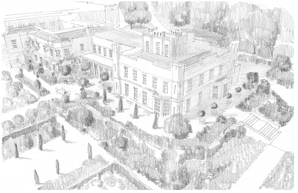 Tom Stuart-Smith's sketch showing an aerial view of Cuerden Hall focusing on the gardens to the rear of the hall
