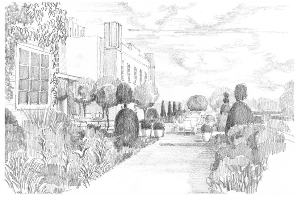 Tom Stuart-Smith's landscape architectural sketch of the Cuerden Hall rear garden