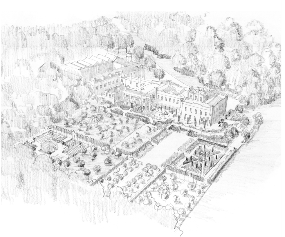 An aerial view showing Tom Stuart-Smith's landscape architectural sketch of the Cuerden Hall estate