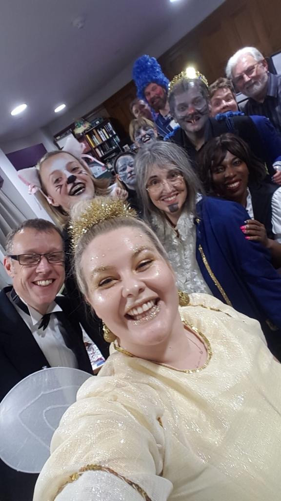 The cast of Dick Whittington get ready for their next performance in a nursing home hair salon, November 2019.