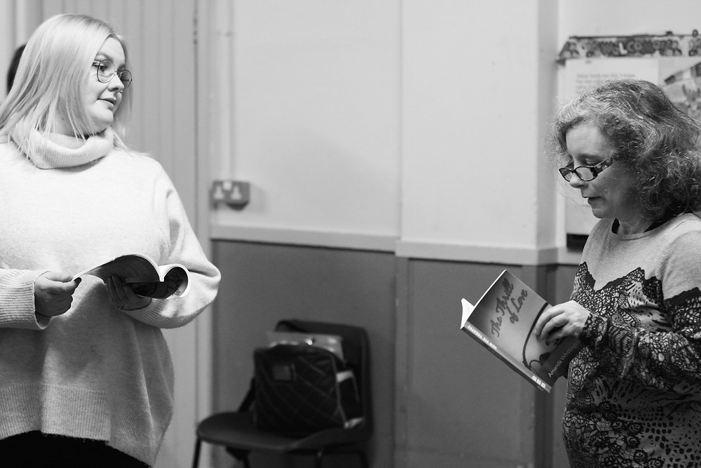 Players Emma Payne and Charli Pay rehearse for The Thrill of Love just before lockdown, 2020.
