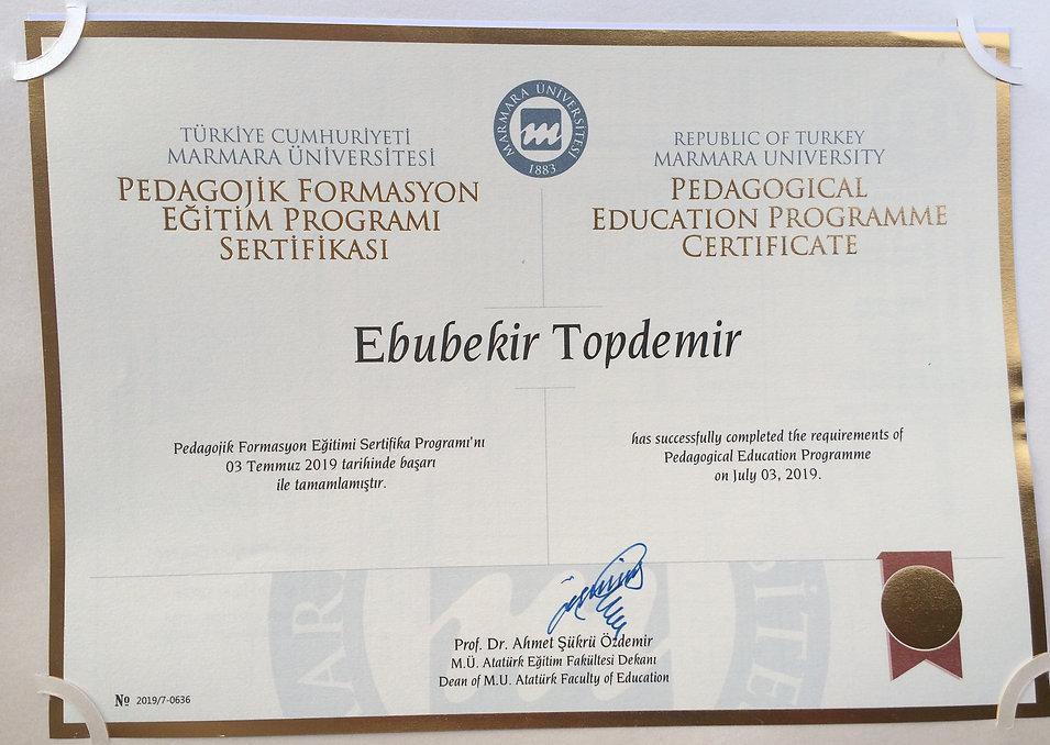 Ebubekir Topdemir - Pedagojik Formasyon