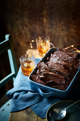 Dark chocolate and whisky bread and butter pudding