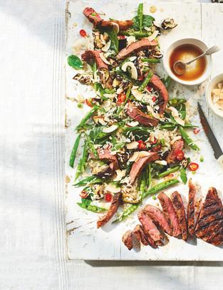 Asian steak and sugarsnap salad