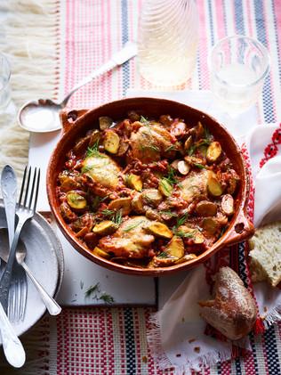 Romanian chicken and gherkin stew