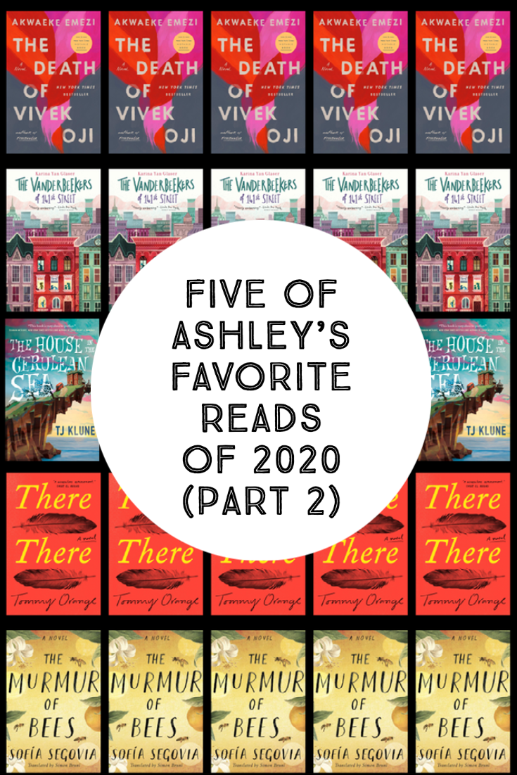 Background of five book covers with text on white circle - Five of Ashley's Favorite Reads of 2020 (Part 2)