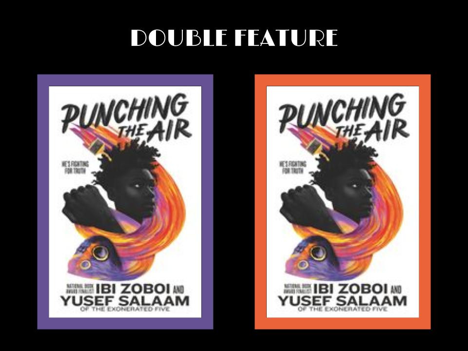 book cover of Ibi Zoboi and Yusef Salaam's Punching the Air (the image appears twice)