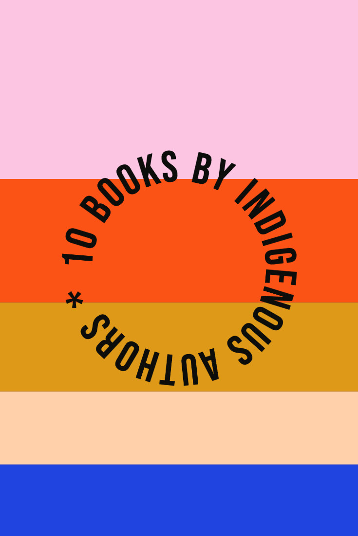 Image with color palette and the text 10 books by Indigenous Authors