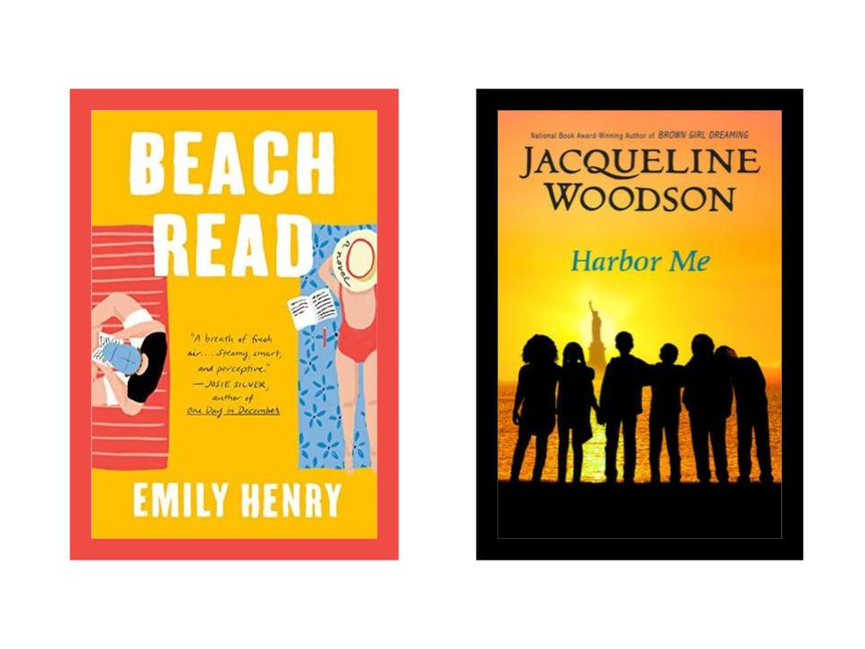 book covers of Emily Henry's Beach Read and Jacqueline Woodson's Harbor Me