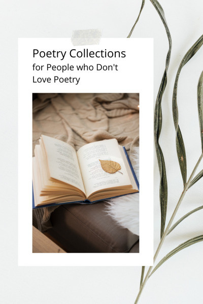 Open book on blanket with words Poetry Collections for People Who Don't Love Poetry