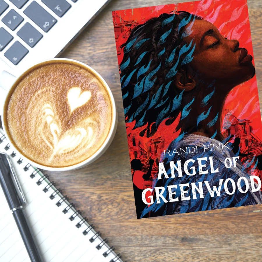 Book cover of Angel of Greenwood by Randi Pink next to coffee and journal