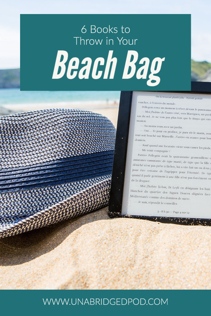"""Image of a hat and a kindle with text """"6 Books to Throw in Your Beach Bag"""""""