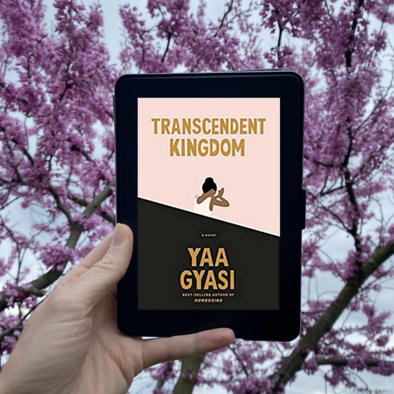 Book Cover of Transcendent Kingdom by Yaa Gyasi with Flowering Tree in Background