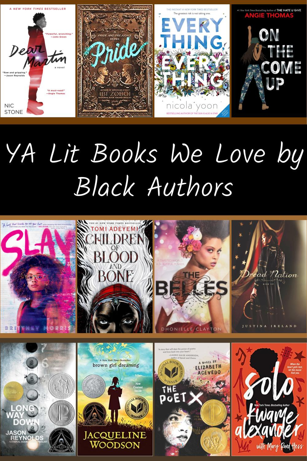 Collage of book covers of YA lit books written by Black authors