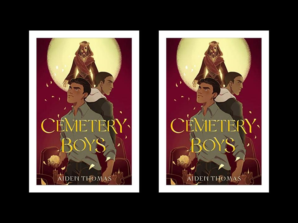 Two copies of the book cover of Aiden Thomas's Cemetery Boys