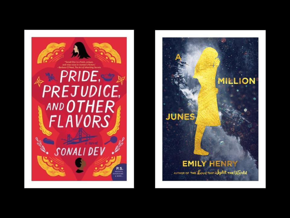 book covers of Sonali Dev's Pride, Prejudice, and Other Flavors and Emily Henry's A Million Junes