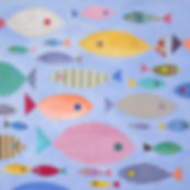 "Ashley Klug ""Fish School"" Mixed Media Collage Series 1, animal art, nursery art, children's art, Ashley Klug Inspired"