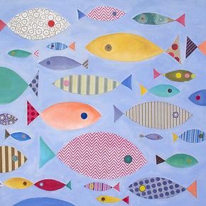 "Ashley Klug ""Fish School"" Mixed Media Collage Series 1, animal art, nursery art, children's art, Ashley Klug Inspired"